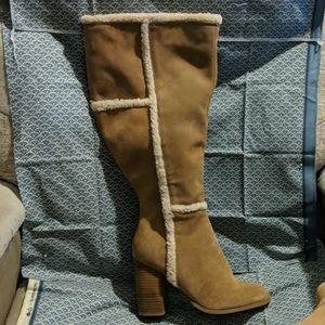 Faux Shearling Trim Heel Boots (wide Width & Wide